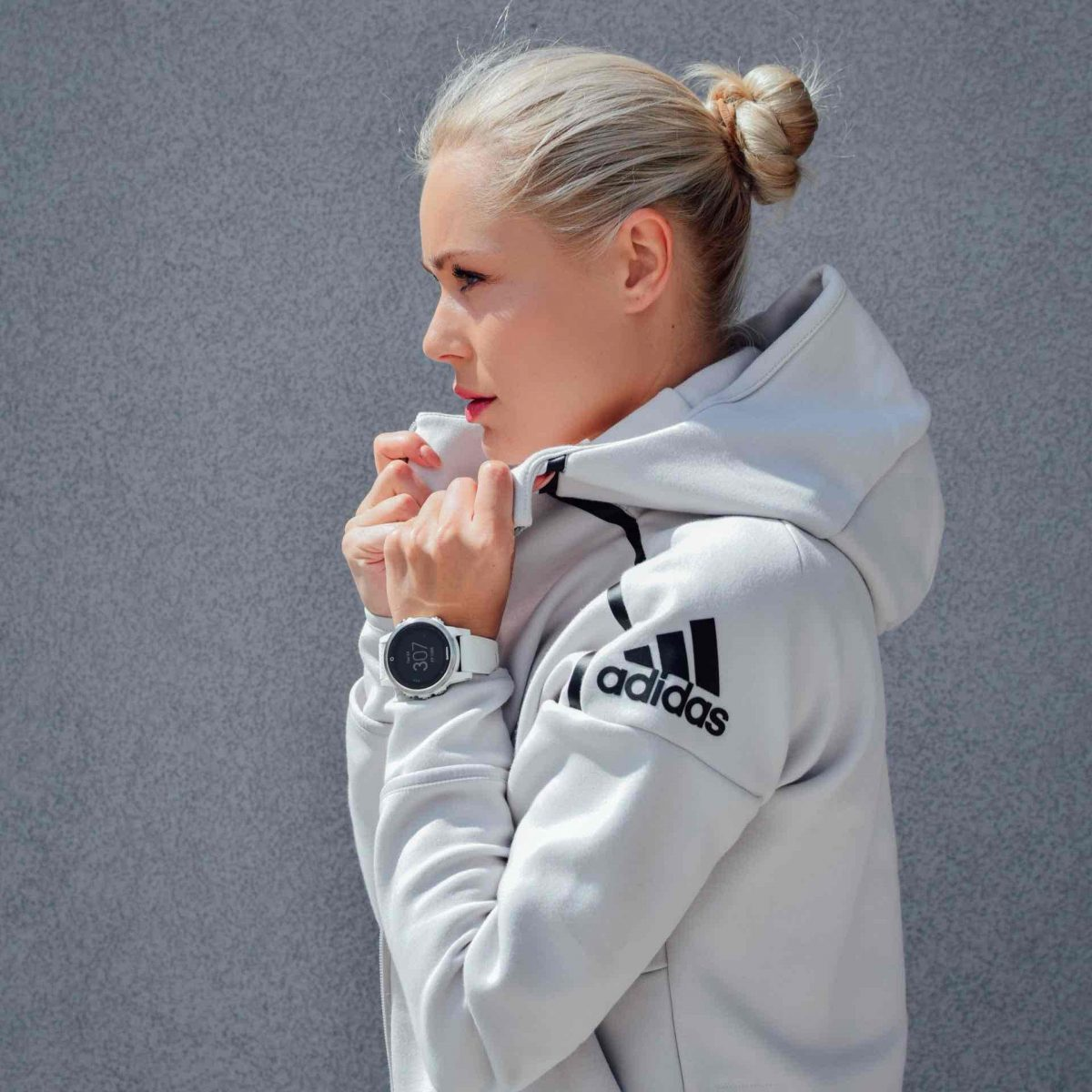 woman wearing Adidas jacket